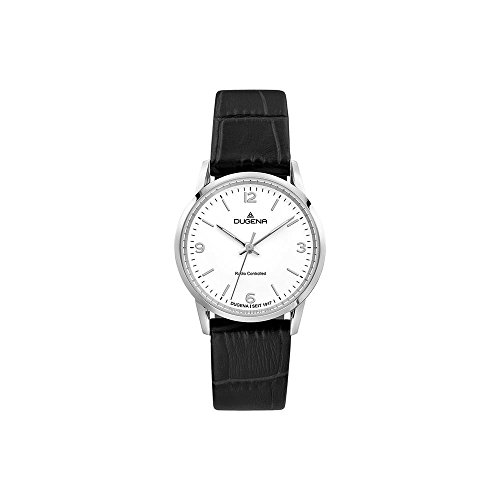 Dugena Damen Funk-Armbanduhr, Saphirglas, Lederarmband, Edelstahlgehäuse, Momentum, Silber/Schwarz, 4460854