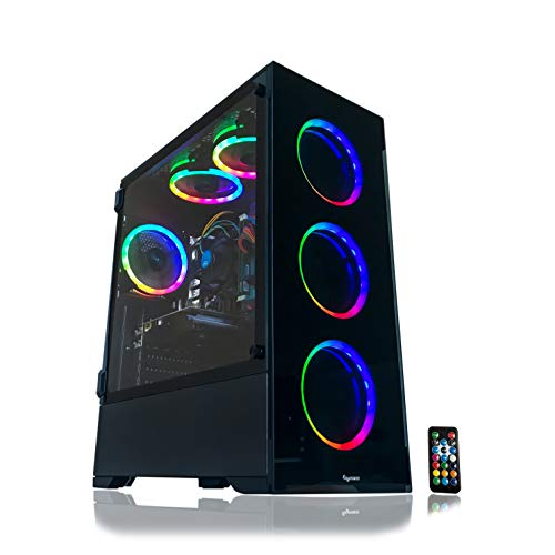 Alarco Gaming PC Desktop Computer Intel i5 3.10GHz,8GB Ram,1TB Hard Drive,Windows 10 pro,WiFi Ready,Video Card Nvidia GTX 650 1GB, 6 RGB Fans with Remote