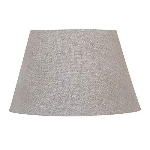 Ovaler Lampenschirm HARRISON grau ecru rustikaler Stoff Tischlampe Strandhaus Klein