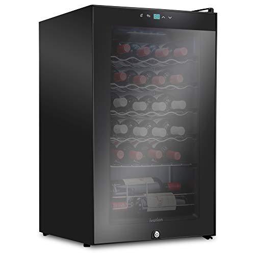 Ivation 24 Bottle Compressor Wine Cooler Refrigerator w/Lock | Large Freestanding Wine Cellar For Red, White, Champagne or Sparkling Wine | 41f-64f Digital Temperature Control Fridge Glass Door Black