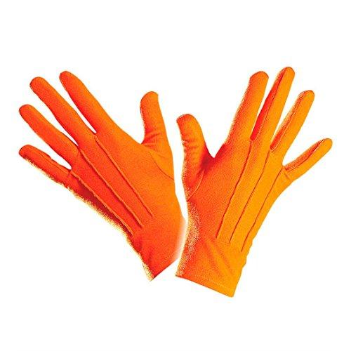 NET TOYS Gants de Clown Courts Gants Orange avec Piqûre Gants Déguisement Accessoire Gants Fins Main Clown Magicien Sorcier Gants Femme