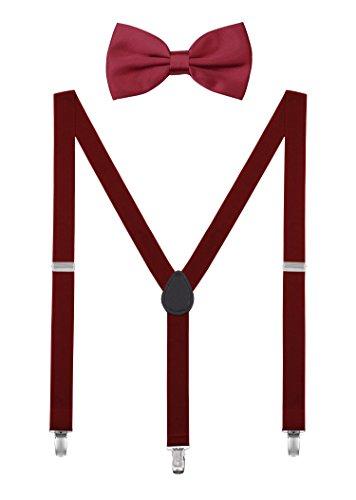 DEBAIJIA Conjunto Tirantes y Pajarita Para Hombre Mujer Elástica Y Forma Ajustable Unisex 2,5 cm Ancho Borgoña