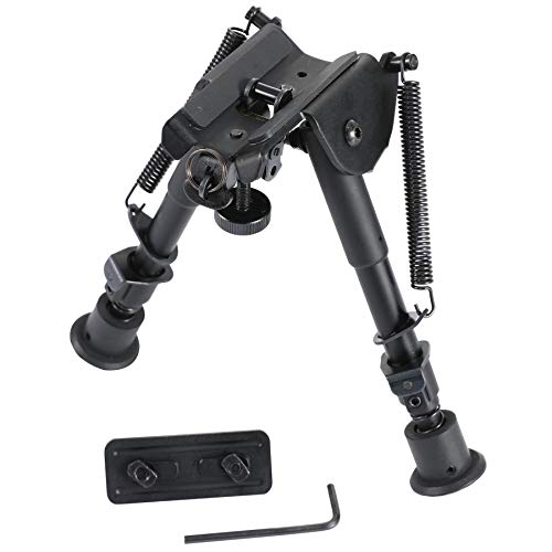 Pinty Tactical Rifle Bipod Adjustable Spring Return Adapter Black Anodized Aircraft Grade Aluminum Construction Adjustable 6-9 Inch Height