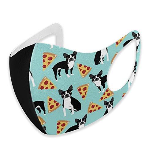 Mundschutz Boston Terrier für Erwachsene, niedliche Pizza-Scheiben, lustig, Anti-Staub, halbes Gesicht, bequem für Damen und Herren