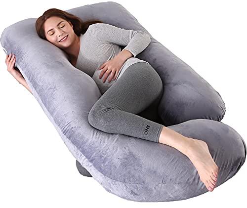ARNTY Almohada Embarazada Dormir,Almohada de Maternidad Forma u,Embarazo Almohada de Cuerpo Mejorar Sueño, con Funda Extraíble y Lavable (Terciopelo- Gris Oscuro)