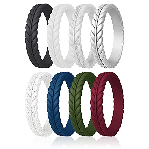 ROQ Silicone Rings for Women - Lavender Leaves Unique Design Womens Silicone Wedding Rubber Rings Bands - Black, White, Marble, Silver, Dark Blue, Dark Green, Maroon Colors - Size 8