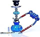Pipa de jarrón de vidrio de narguile con 1 manguera Shisha Heads Pot fáciles de desmontar la fiesta de fumar shisha Set para el mejor shisha Hookah Fumar (Color: Rojo)