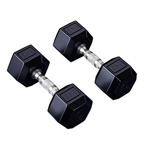 Dumbbell A Pair of Rubber Encased Hex Dumbbell Multiple Weights Set Fitness Equipment Allenamento Fisico (Size : 22lb)
