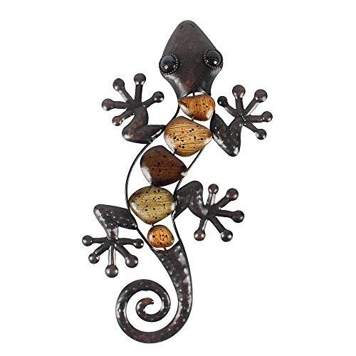 Liffy Metall Gecko Wanddekoration im Freien Eidechse hängende Dekorationen für Garten, Terrasse oder Zaun, 15 Zoll lang