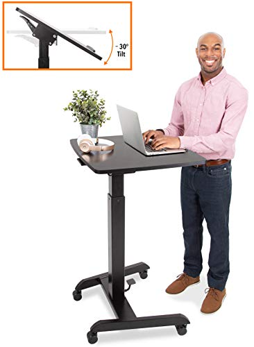 Stand Steady Multifunctional Tilting Mobile Podium | Portable Sit to Stand Lectern with Pneumatic Height Adjustments | Rolling Laptop Stand with Adjustable Tilt | Perfect for School & Office! (Black)