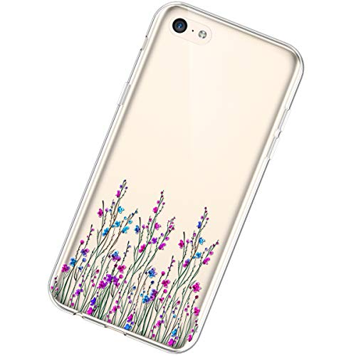 Urhause TPU hülle Kompatibel mit iphone 5C,Ultra Slim Silikon Hülle Gemalt Blumenmuster Flexible TPU Handyhülle Transparent TPU Silikon Schutzhülle Fallschutz Kratzfest hülle,#22