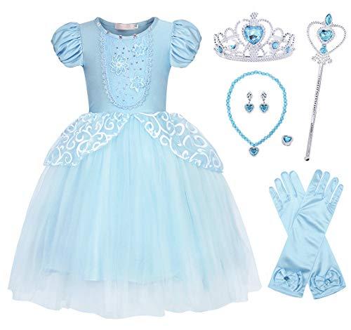 Jurebecia Cenicienta Vestido de Fiesta para Niñas Dress Largo de Gasa con Encaje de Princesa Halloween Fiesta de Cumpleaños Azul