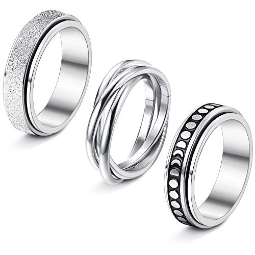 sailimue 3 Pcs Stainless Steel Spinner Rings for Women Men Couple Rings Fidget Band Cool Rings Moon Star Celtic Stress Relieving Ring for Anxiet Wedding Promise Rings Set Valentine's Day Gift(5-9)