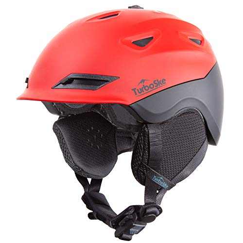 TurboSke Ski Helmet Snowboard Helmet - Active Ventilation Audio Compatible Snow Sports Luxury Helmet with ASTM Certified Safety for Men Women and Youth (M, Red-Black)