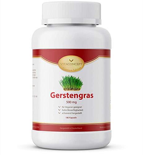 Gerstengras Kapseln I 1500 mg Gerstengraspulver pro Tagesportion I 180 Stück I Vegan und Laborgeprüft I Entwickelt von Ärzten