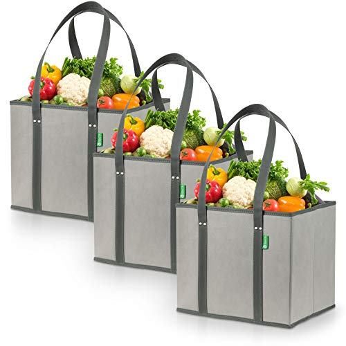 Reusable Grocery Shopping Box Bags (3 Pack - Gray). Large, Premium Quality Heavy Duty Tote Bag Set...