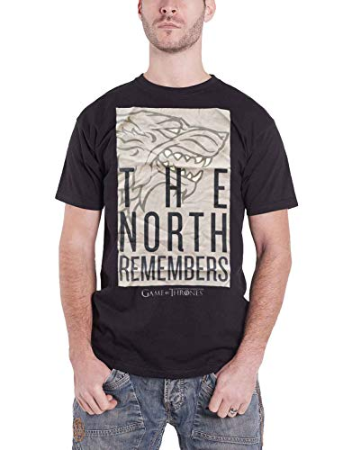 Game of Thrones T-Shirt da Uomo The North Remembers Strong Cotton Black - XL