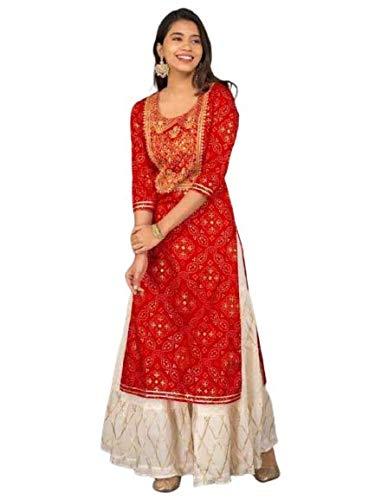 AADVIKA CREATIONS Rayon Straight Kurti with White Sharara Plazzo for Women & Girls Dress (AD-Red Bandhej)