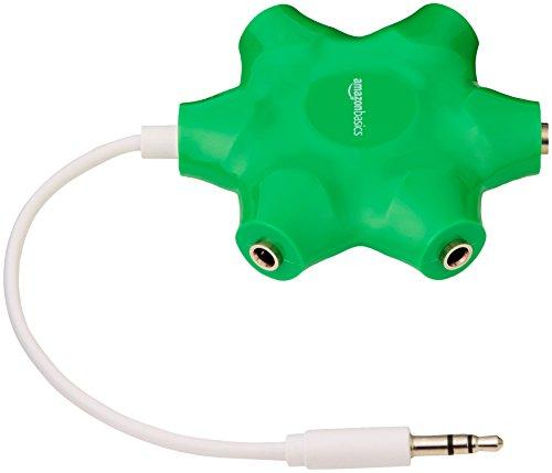 Amazonベーシック 5ウェイ マルチヘッドホンオーディオスプリッター コネクター ネオングリーン