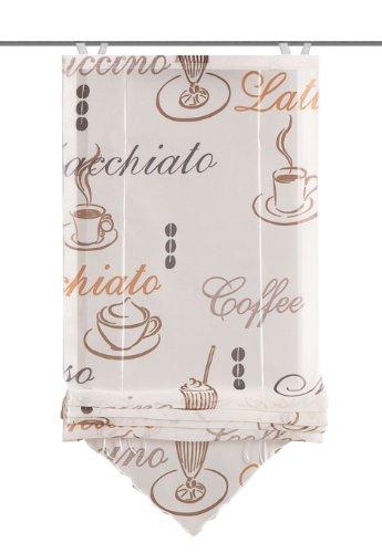 Home Fashion 57232-802 Bändchenrollo Cafe mit Haken, Voile, 140 x 80 cm, Creme