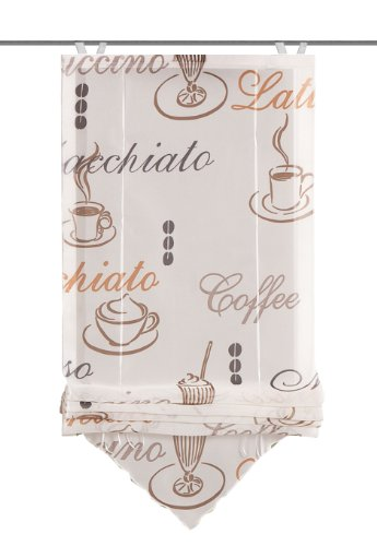 Home Fashion 57232-802 Bändchenrollo Cafe mit Haken, Voile, 140 x 45 cm, Creme