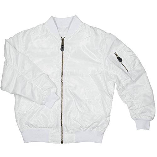 Men's MA-1 Spring Reversible Flight Bomber Pilot Jacket-MA6-Wht-XL White