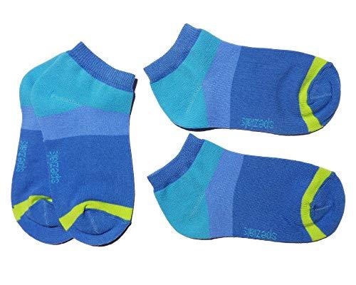 Weri Spezials Kinder Sneaker Socken für Mädchen & Jungen im Doppelpack Moderne Ringel in verschiedenen Farben. (39/42, Jeans)