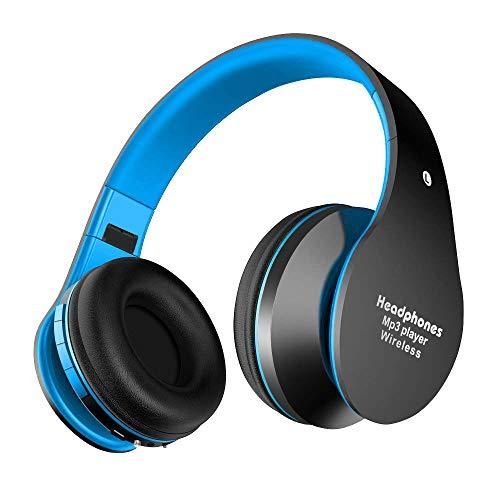 Alitoo Bluetooth Cuffie Stereo Pieghevole Auricolari Wireless Headphones Over-Testa Senza Fili Bluetooth Audio Stereo Hi-fi Microfono Incorporato Cuffie con Microfono per Smartphone e Computer (Blu)