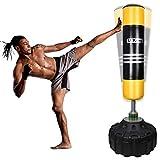 UKing Saco de Boxeo de Pie, 180cm Saco Boxeo Suelo con Base y Columna de Rebote de 360 °,para Kick Boxing, Artes Marciales Mixtas, Equipo de Entrenamiento de MMA, Karate (Yellow)