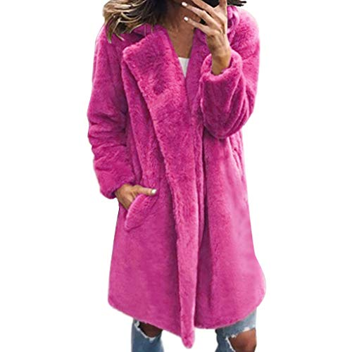 VEZAD Store Womens Warm Faux Fur Coat Jacket Fashion Padded Oversized Outerwear Hot Pink