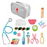 MySixKeen 15PCS Kids Doctor Kit Pretend Play Doctor Set Equipo de Primeros Auxilios de Madera para Regalo de niños
