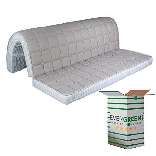 Evergreenweb – Colchón para sofá Cama Plegable de Espuma 140 x 190, Altura 10 cm, Revestimiento Blanco hipoalergénico, ortopédico, ergonómico, Lazos de fijación Bed Sofa