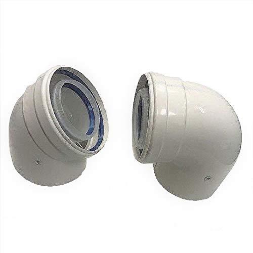 41QXN84d3QL - Uzman-Versand, 90° Konzentrische Luft-/Abgasbogen Ø 80/125 mm, Innen Kunststoff PP/Außenrohr Kunststoff PP. DN 80/125 Bogen, Winkel, Abgas-Rohr Abgassystem Doppelrohr, Abgasrohr,
