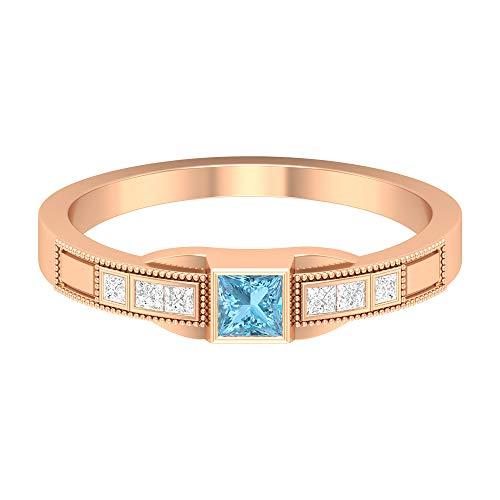 Anillo solitario de aguamarina de 1/2 quilates, anillo de diamante HI-SI, anillo de compromiso de corte princesa de 3 x 3 mm, anillo de compromiso de oro grabado de 14 quilates