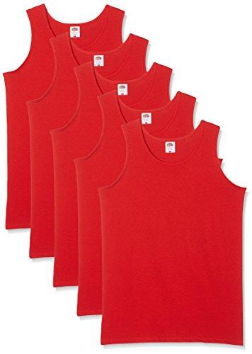Fruit of the Loom Herren Regular Fit Unterhemd 5-Pack Athletic Mens, Rot (Red), X-Large