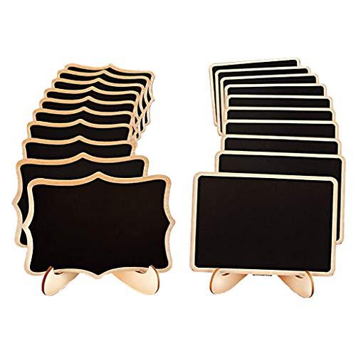 LianMengMVP 20Stck Kreidetafel Memotafel Tischtafel Notiztafel Klein Tafel 18 x 8cm, zum Schreiben als Speisekarte Tischaufsteller Tischdeko für Hochzeit Gastronomie Party Feier (Holz)