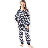 Merry Style Pijama Entero 1 Pieza Vestido de Casa 100% Algodón Niña MS10-186 (Marino Puntos, 122-128)