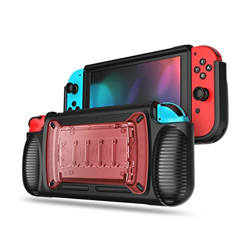 LEYUS Grip Case with Stand for Nintendo Switch, Protective Game Case Ergonomic Cover Kickstand (Red)