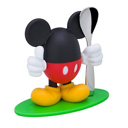 WMF Disney Mickey Mouse Eierbecher mit Löffel, 14cm, lustiger Eiebecher Kinder, Kunststoff, Cromargan Edelstahl poliert, farbecht, lebensmittelecht