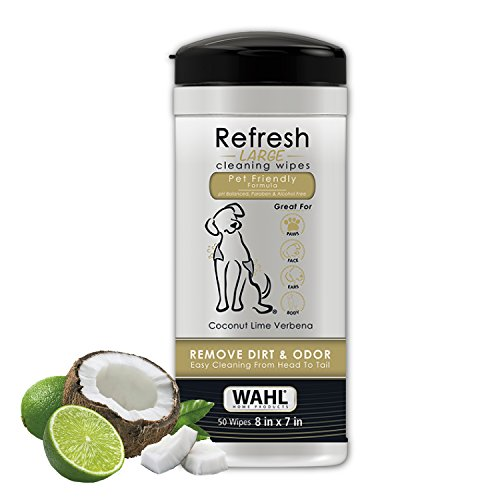 WAHL Pet Refresh Cleaning Wipes for All Dog Breeds - Use on Ears, Nose, Paws, Bottom, & Sensitive Areas - 50 Wipes, Coconut Lime Verbana