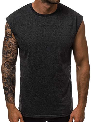 OZONEE Herren Tank Top Tanktop Tankshirt Ärmellos Bodybuilding Shirt Unterhemd T-Shirt Tshirt Tee Muskelshirt Achselshirt Trägershirt Ärmellose Training Sport Fitness O/1265 DUNKELGRAU L