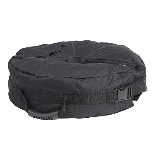 Bolsa de arena redonda negra al aire libre para tienda de campaña al aire libre sombrilla sombrilla base apoyada pesca camping senderismo tienda accesorios, 46 cm para tienda accesorios