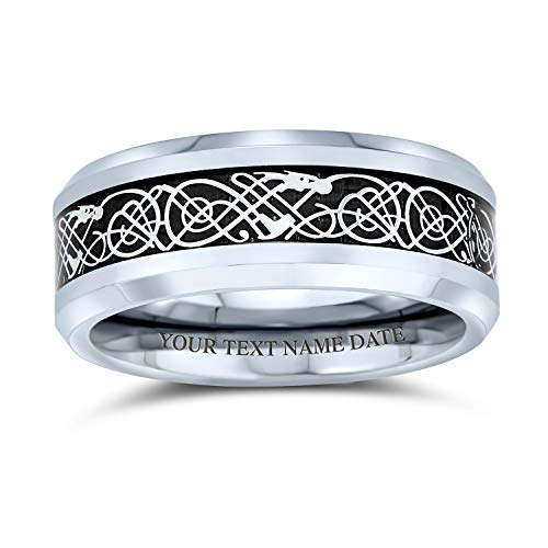 Bling Jewelry Personalized Celtic Knot Dragon Inlay Couples Titanium Wedding Band Rings for Men Women Comfort Fit 8MM Custom Engraved