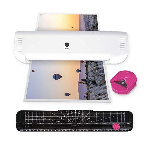 Zoomyo Laminiergeräte für jeden Bedarf: A4 Laminiergerät, 4in1 Laminierset mit Schneidelineal und Eckenabrunder, Folienschweissgerät, Zubehör wie Folien A4 und mehr (weiß/pink)
