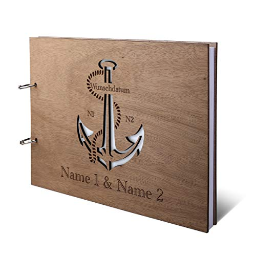 Hochzeit Gästebuch Okoume Holz Gravur individuell Holzcover mit 144 Naturpapier Innenseiten DIN A4 quer 302 x 215 mm - Anker