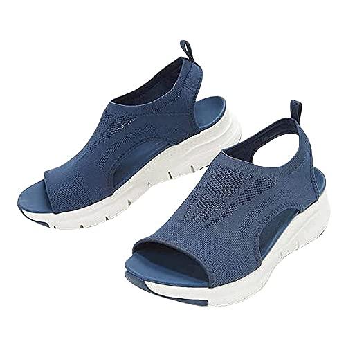 LLSH 2021 Summer Washable Slingback Orthopedic Slide Sport Sandals, Mesh Platform Soft Sole Casual Sports Women s Shoes (44,Blue)
