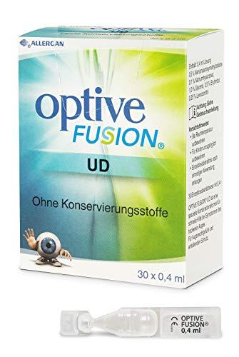 Allergan Optive® FUSION UD Augentropfen gegen trockene Augen Einzeldosen | 30 x 0,4 ml Augentropfen mit Hyaluron | Augentropfen Kontaktlinsen geeignet