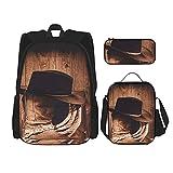 Cowboy Black Hat Botas occidentales Mochila Combinación Conjunto De Tres Piezas Moda Viaje Bookbag Bolsa De Almuerzo Estuche