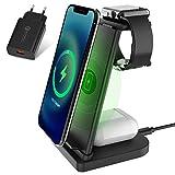 LC.IMEEKE Cargador inalámbrico rápido 3 en 1, estación de carga inductiva para Apple Watch 5/4/3/2, Airpods Pro/2, iPhone 12/11/X/XR/Xs Max/8, para Samsung Galaxy S20/S10 (con adaptador QC 3.0)