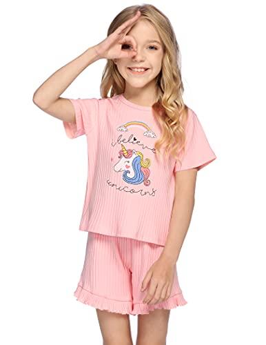 Bricnat Mädchen Schlafanzug Kurz Einhorn Regenbogen Kurzarm Pyjama Kinder Zweiteilig Unicorn Baumwolle Nachtwäsche Weich Zweiteiler Frühling Sommer Rosa 116 122 120